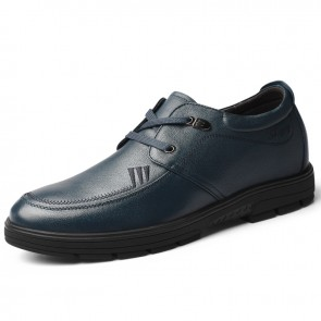 Blue Soft Calfskin Height Increasing Men Shoes Fashion Business Casual Shoes Boost 2.4 inch / 6 cm