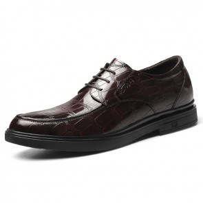 Shiny Hidden Height Formal Shoes Wine Patent Leather Elevator Business Oxfords Increase 2.4 inch / 6 cm