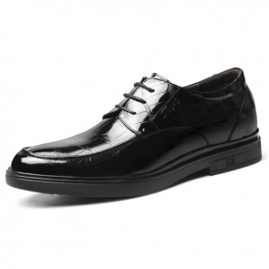 Shiny Height Increasing Formal Shoes Black Patent Leather Elevator Business Oxfords Taller 2.4 inch / 6 cm