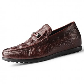 2020 Comfortable Brown Men Taller Doug Shoes Increase Height 2.4inch / 6cm Soft Genuine Leather Flat Loafers