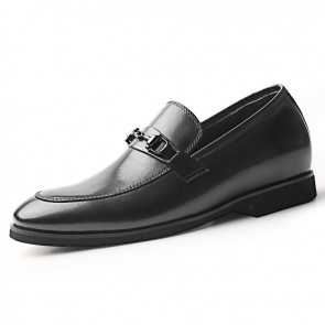 2020 Height Increasing Men Bit Loafers Add Taller 2.6inch / 6.5cm Black Lightweight Slip On Dress Shoes