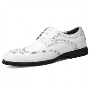2020 Lightweight Taller Brogue Shoes for Men  Increase 2.6inch / 6.5cm White Premium Leather Wingtip Formal Oxfords