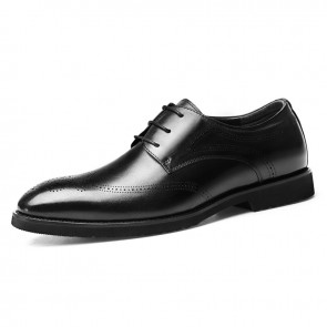 2020 Lightweight Elevator Brogue Shoes for Men Height 2.6inch / 6.5cm Black Premium Leather Wingtip Formal Oxfords