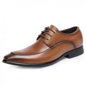 2021 European Taller Men Formal Shoes Add Height 2.4inch / 6cm Brown Pointy Toe Men Wedding Shoes