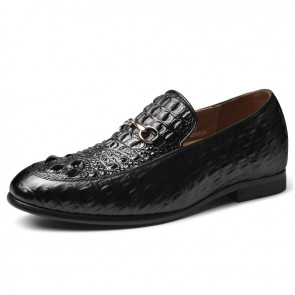 Luxury Elevator Bit Loafers Genuine Crocodile Slip On Dress Shoes Increase Height 2.6inch / 6.5cm