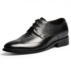 2021 Height Increasing Brogue Shoes Black Alligator Pattern Wingtips Tuxedo Shoes Taller 2.6 inch