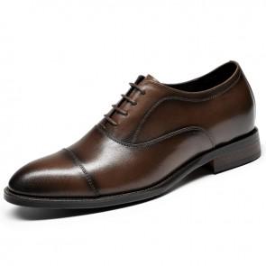 Luxurious Hidden Taller Cap Oxfords Increase Height 2.6 inch / 6.5 cm Brown Designer Lift Formal Dress Shoes