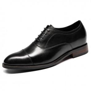 Luxurious Elevator Cap Oxfords for Men Add Taller 2.6 inch / 6.5 cm Black Designer Lift Wedding Dress Shoes