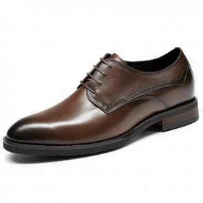 Elegant Height Increasing Formal Shoes for Men Add 2.6 inch / 6.5 cm Ultralight Brown Cowhide Business Shoes