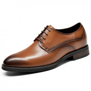 Elegant Lift Formal Shoes Gain Taller 2.6 inch / 6.5 cm Ultralight Yellow-Brown Cowhide Business Shoes
