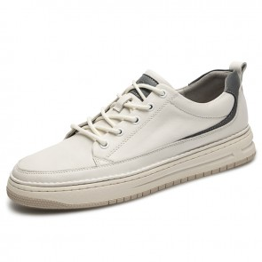 etro Height Increasing Low Top Skate Shoes White Genuine Leather Casual Shoes Add Taller 2 inch / 5 cm