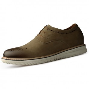 2020 Retro Brogue Taller Shoes for Men Add Taller 2.4inch / 7cm Khaki Soft Nubuck Leather Elevator Casual Shoes