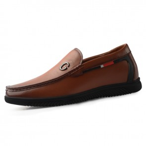 2020 Brown Elevator Driving Shoes Add Taller 2.2inch / 5.5cm Slip On Soft Leather Height Men Loafers