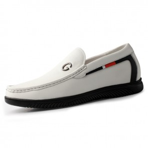 2020 White Elevator Driving Shoes Get Taller 2.2inch / 5.5cm Slip On Soft Leather Height Increasing Loafers
