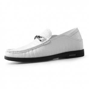 Soft Heighten Loafers Slip On Taller Doug Shoes White Premium Leather Slipper Increase 2.4inch / 6cm