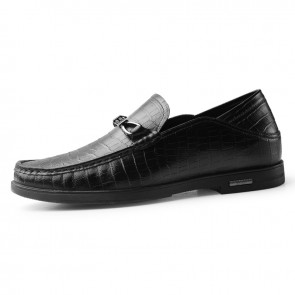 Soft Heighted Loafers Slip On Elevator Doug Shoes for Men Add Taller 2.4inch / 6cm Black Premium Leather Slipper