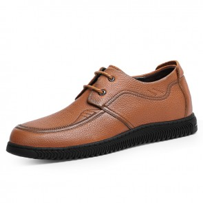 2021 Daily Lace Up Taller Casual Shoes for Men Increase Height 2.4inch / 6cm Brown Gommino Driving Shoe
