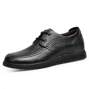 2021 Daily Lace Up Elevator Moccasin Shoes for Men Gain Taller 2.4 inch / 6 cm Black Gommino Driving Shoe