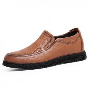 2021 Height Increasing Comfy Loafers for Men Taller 2.4inch / 6cm Brown Moccasin Slip On Driving Shoes