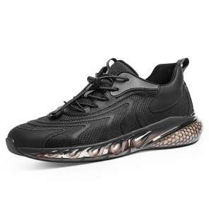 Black Fashion Elevator Running Shoes Popcorn Shock Absorbing Sneakers Add Taller 2.8 inch / 7 cm