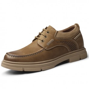 Brown Wide Height Casual Shoes Ultimate Comfort Lace Up Work Shoes Add Taller 2.4 inch / 6 cm