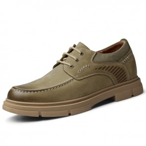 Khaki Wide Hidden Lift Shoes Ultimate Comfort Lace Up Work Shoes Get Height 2.4 inch / 6 cm