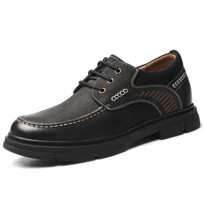 Black Wide Elevator Casual Shoes Ultimate Comfort Lace Up Work Shoes Increase 2.4 inch / 6 cm