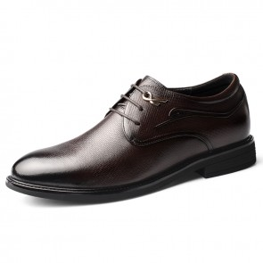 Comfortable Lift Men Wedding Shoes Brown Soft Cowhide Dressy Formal Shoes Gain Taller  2.4 inch / 6 cm