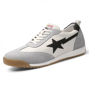 Height Men Running Shoes Gray Genuine Leather Casual Sneakers Increase Tall 2.4 inch / 6 cm
