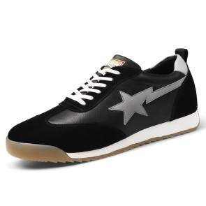 Taller Men Running Shoes Black Genuine Leather Casual Sneakers Increase Height 2.4 inch / 6 cm