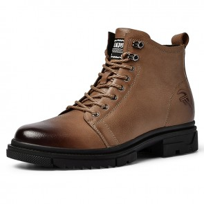 Fashion Motorcycle Boots Add Tall Brown Genuine Leather Side Zip Boots Height