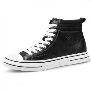 Zip High-Top Sneakers Trendy Calfskin Elevator Casual Skate Shoes Gain Taller 2.4 inch / 6 cm