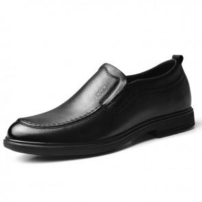 Lightweight Hidden Lift Formal Loafers Soft Calfskin Leather Slip On Business Dress Shoes Increase 2.8 inch / 7 cm