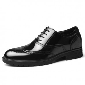 Height Increasing Shiny Wedding Shoes Add Taller 2.4 inch / 6 cm Trendy Wing Tip Elevator Brogue Oxfords