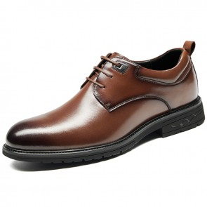 Crafted Hidden Lift Business Shoes Extra Taller 3 inch / 7.5 cm Brown Genuine Leather Formal Derbies