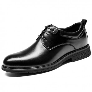 Crafted Height Increase Business Shoes Rise Taller 3 inch / 7.5 cm Black Genuine Leather Formal Derbies