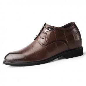 2020 New Height Increasing Formal Shoes for Men Increase 6.5cm / 2.6inch Brown Soft Embossed Leather Dressy Derbies