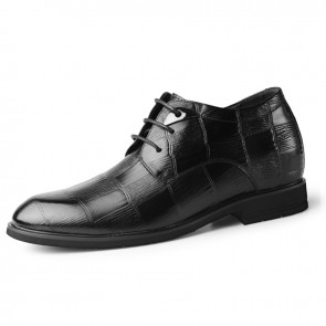2020 New Height Elevator Formal Shoes for Men Add Taller 6.5cm / 2.6inch Black Soft Embossed Leather Dressy Derbies