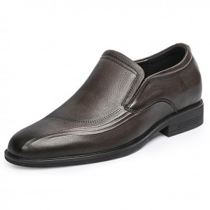 Elegant Slip On Men Casual Shoes Add Taller 2.4 inch / 6 cm Brown Soft Calfskin Height Increasing Business Loafers