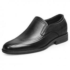 Elegant Slip On Casual Shoes for Men Increase 2.4 inch / 6 cm Black Soft Calfskin Elevator Business Loafers
