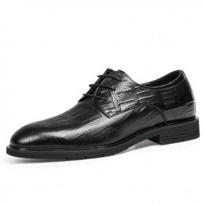 2021 Fashion Elevator Men Formal Derbies Add Tall 2.4inch / 6cm Soft Cowhide Lace Up Tuxedo Shoes