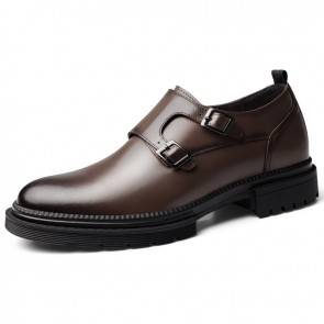 Brown Double Monk Strap Lift Shoes British Plain Formal Dress Loafers Increase Taller 2.4inch / 6cm