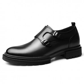 Black Double Monk Strap Elevator Shoes British Plain Formal Dress Loafers Add Height 2.4inch / 6cm