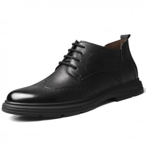 European High Top Brogue Casual Shoes Black Elevator Business Shoes Add Taller 2.4 inch / 6 cm