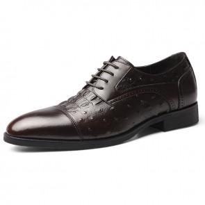 Hidden Lift Cap Toe Dress Shoes Brown Crocodile Grain Business Formal Derbies Taller 2.4 inch / 6 cm