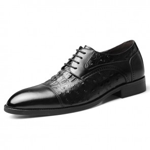 Elevator Cap Toe Dress Shoes Black Crocodile Grain Business Formal Derbies Increase 2.4inch / 6cm