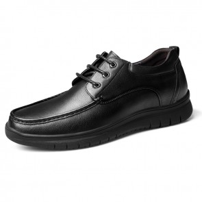 Width Height Increasing Shoes Black Cowhide Stitch Casual Shoes Can Be Taller 2.4 inch / 6 cm