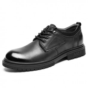 Everyday Elevator Outdoor Shoes Add Taller 2.6 inch / 6.5 cm Black Cowhide Leather Spacious Toe Work Shoes