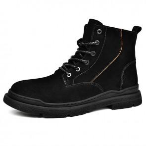 Zipper Elevator Hiking Boot for Men Increase Height 2.4 inch / 6 cm Black Chukka Boots