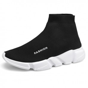 Height Increasing Mid-Top Sock Trainers Black Knit Slip On Walking Running Shoes Add Taller 2.8 inc / 7 cm